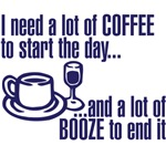 a lot of coffee and booze