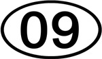 Number 09 Oval (Black)