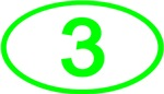 Number 3 Oval (Green)