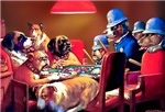 VINTAGE DOG ART: POKER DOGS: PINCHED WITH FOUR ACE