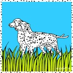 Two Dalmatians in a Field