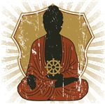 Buddha Meditating With Dharma Wheel