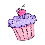 Cute Cupcake with Love (purple)