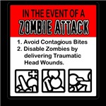 Standard Zombie Attack warning sign reads,