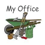 A Gardener's Office. Wheelbarrow & Garden Tools.