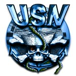 USN Skull Navy Anchor Blue
