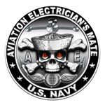 USN Aviation Electricians Mate Skull rnd