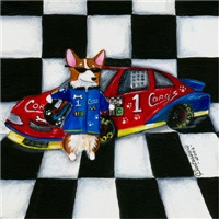 Start Your Engines! Pembroke Welsh Corgi Dog Art G