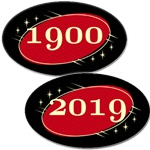 Black & Red Neo Retro Oval Stickers