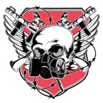Gas Mask Skull Red