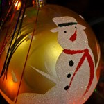 Retro 50s Frosted Snowman Ornament