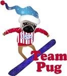 Olympug Team Pug Snowboarding Pug
