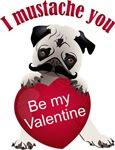 Mustache Valentine Pug