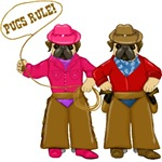 Pugs Rule Cowboy and Cowgirl