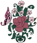 Mauve Rose and Butterfly