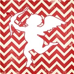 Cupid on Red Chevron