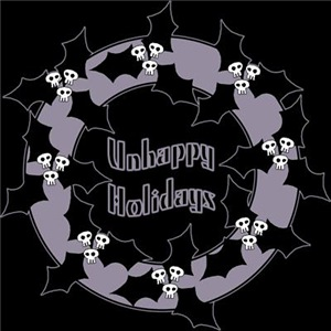 Unhappy Holidays Gothic Holly Wreath