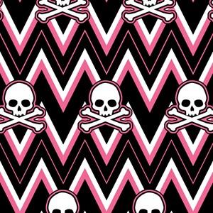 Gothic Pink Skull Chevron