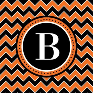 Monogram Halloween Chevron Stripes