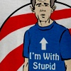george bush with stupid t-shirts