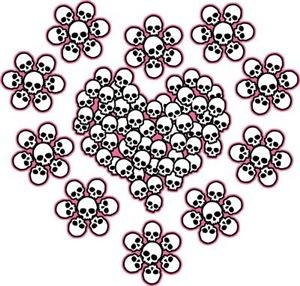 Skull Heart N Flowers