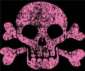 Worn Pink Skull And Crossbones