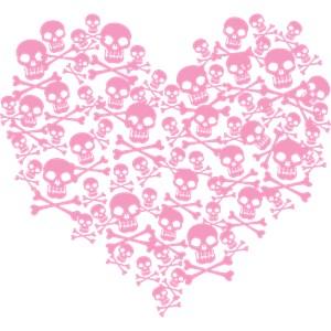 Pink Skull Heart