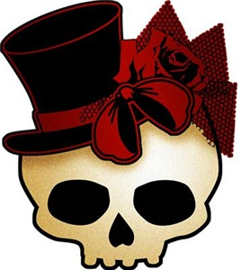 Cute Gothic Skull In Top Hat