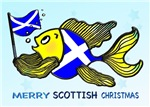 MERRY SCOTTISH CHRISTMAS fish holding Scottish fla