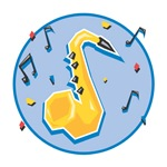 Saxaphone (Sax) and Music Notes Design