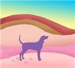 Pink Hills Coonhound (with purple hound)