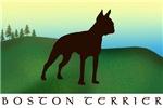 Boston Terrier Grassy Hillside