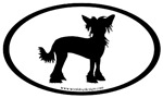 Chinese Crested Dog Oval Stickers