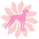 Pink Flower Vizsla Dog