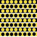 Black, white and yellow polka dots