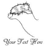 Alpaca and text. Black Lines.