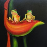 Tree Frogs on Haliconia