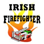 Irish Firefighter Apparel, Tee's & Gifts featuring our fire truck in Irish red, green and white.