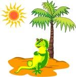 Iguana Under A Palm Tree