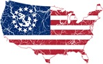 United States Yacht Ensign Flag And Map