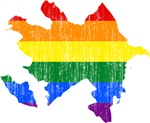 Azerbaijan Rainbow Pride Flag And Map
