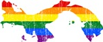 Panama Rainbow Pride Flag And Map