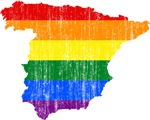 Spain Rainbow Pride Flag And Map