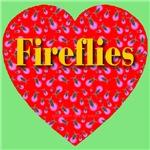 Fireflies Golden Ruby Heart