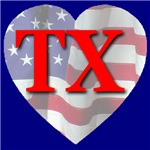 Love TX Flag Heart