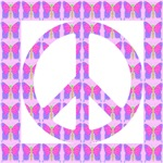 Peace Symbol Butterflies on White