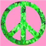 Shamrock Peace Symbol on Pink