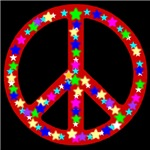 Peace Symbol Ruby Stars