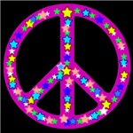 Peace Symbol Midnight Violet Stars