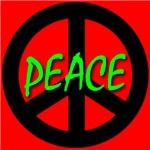 Peace Symbol Child's Script Ruby